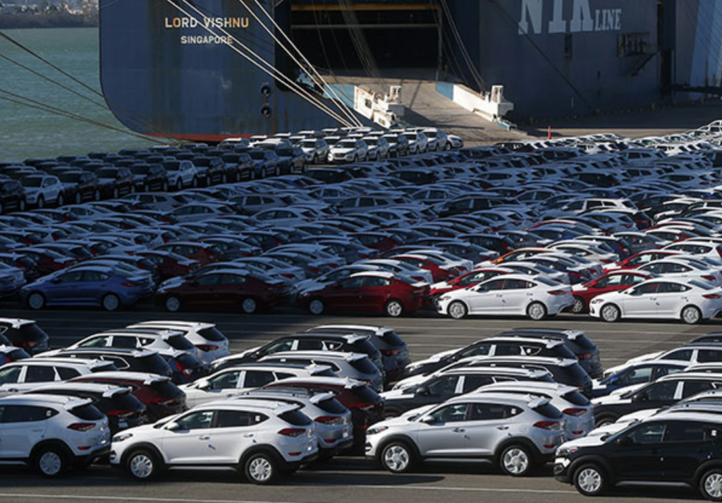 Hyundai Motor Co.'s vehicles at a port in the industrial city of Ulsan. (image: Yonhap)