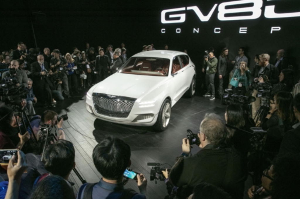 The Genesis GV80 Concept SUV unveiled at the New York Auto Show press day on April 12, 2017. (image: Hyundai Motor Company)