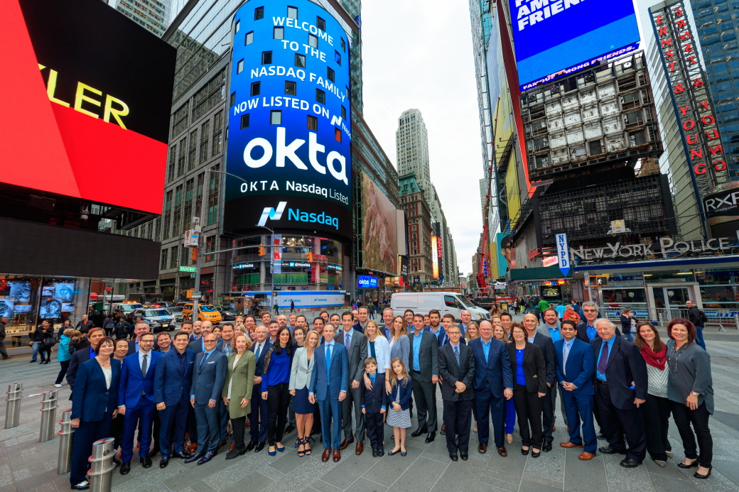 Okta, Inc. (Nasdaq:OKTA), the leading independent provider of identity for the enterprise, visited the Nasdaq MarketSite in Times Square in celebration of its initial public offering. (image: Nasdaq)