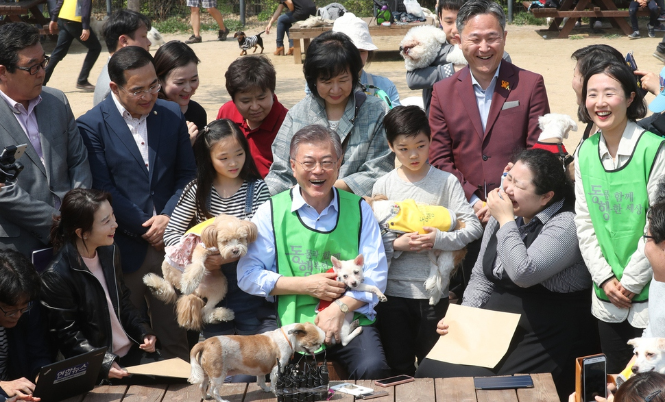 Moon's pets made appearances on his social media accounts prior to the election, which left a good impression on voters who were concerned about animal welfare along with his animal-friendly policies. (Image: Yonhap)