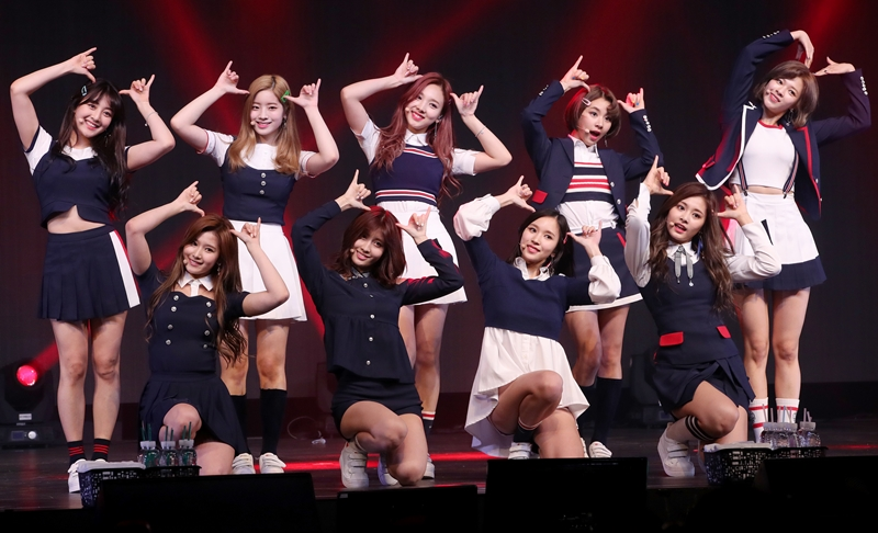 "Girl group TWICE performs at a media event to promote its fouth EP album ""Signal"" at Blue Square Samsung Card Hall in Seoul. (image: Korea Bizwire)"