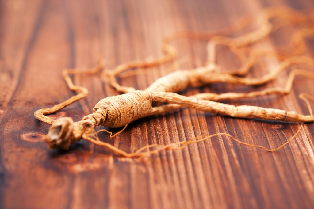 60472160 - ginseng on a wood background