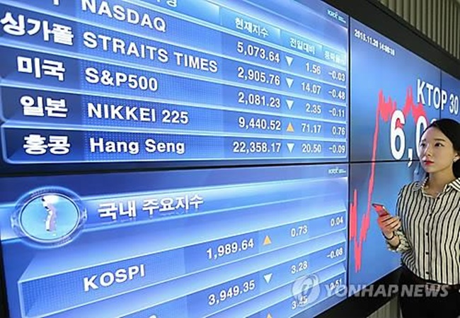 Bae Sung-young, a market analyst at KB Securities Co., said institutions and foreign investors sold Samsung Electronics and other major technology stocks in an apparent profit-taking move. This, he said caused the main bourse to lose ground. (Image: Yonhap)
