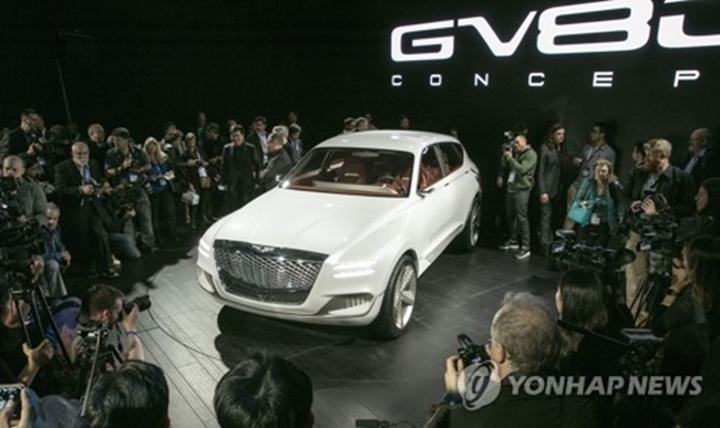 "Hyundai Motor Co., which is struggling due to its lack of competitive SUV models in the U.S. market, aims to introduce the ""GV80,"" the first SUV model under the carmaker's independent luxury Genesis brand, in 2019, a company spokesman said. (Image: Yonhap)"