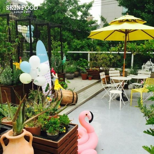 On the rooftop of SkinFood's Garosu-gil outlet is a garden featuring plants that are used as ingredients in SkinFood cosmetics. (image: SkinFood)