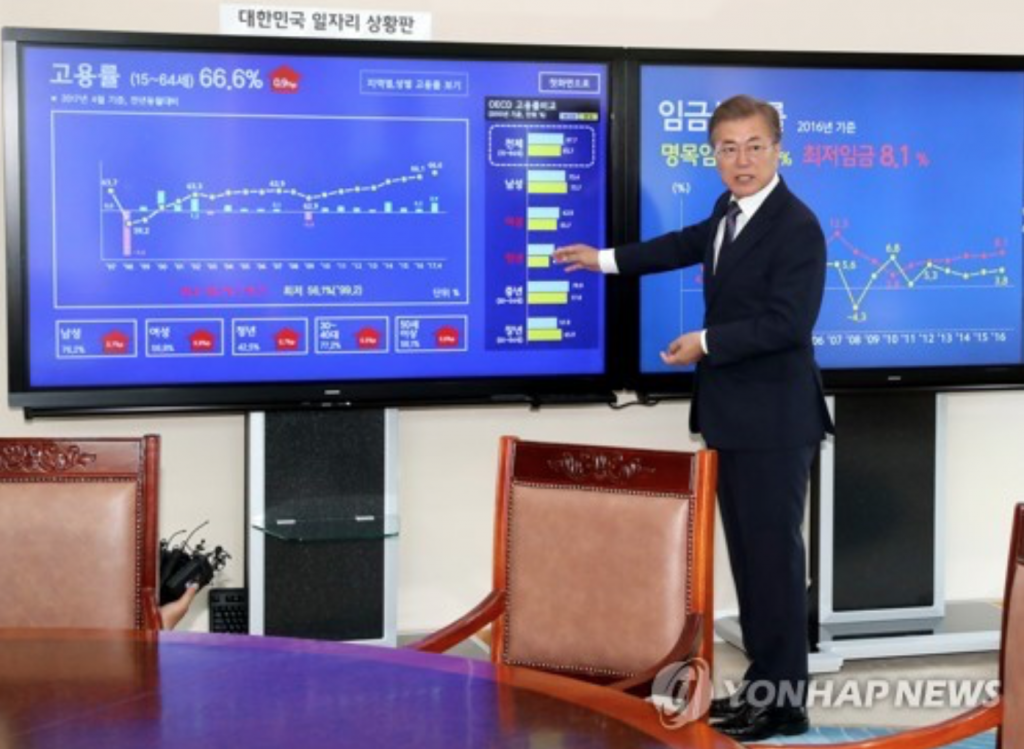 President Moon Jae-in demonstrates how to read key job-related indicators displayed on a new electronic bulletin board installed in one of his offices at the presidential office Cheong Wa Dae in Seoul on May 24, 2017. (image: Yonhap)