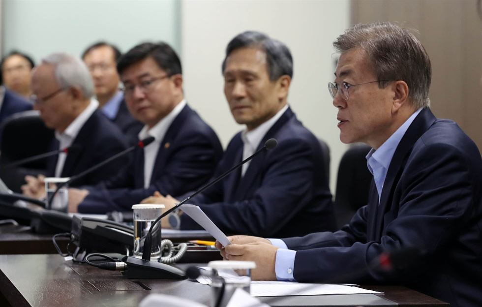 President Moon Jae-in, during an emergency meeting with the National Security Council (NSC), shortly following North Korea's missile launch on May 14. (image: Cheong Wa Dae)