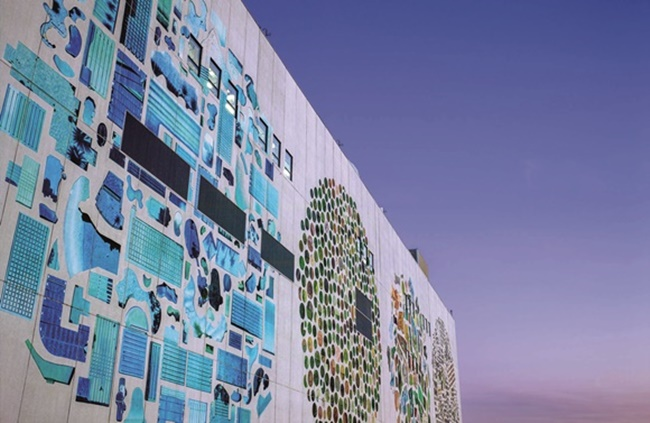 Google's data center in Oklahoma also made the list, featuring murals on the outside walls created by artist Jenny Odell which were drawn to resemble satellite images of swimming pools, circular farms and water treatment plants on Google Maps. (Image: Google)