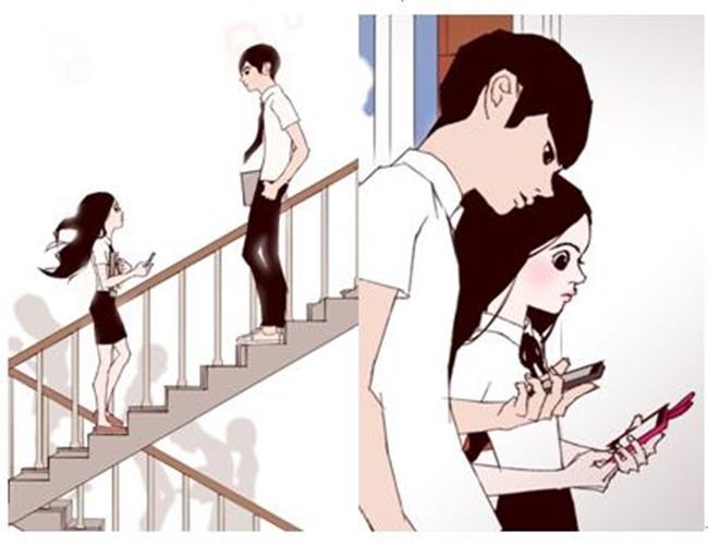 """This captured image is from the webtoon series """"Love Alarm"""" written by graphic novelist Chon Kye-young. (Image: Yonhap)"""