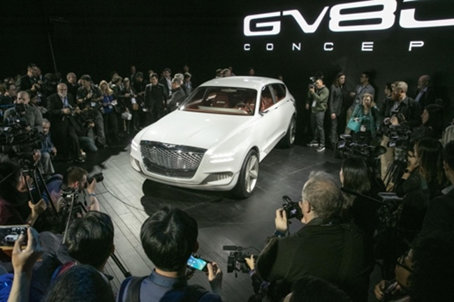 The Genesis GV80 Concept SUV unveiled at the New York Auto Show press day on April. (Image: Hyundai Motor)