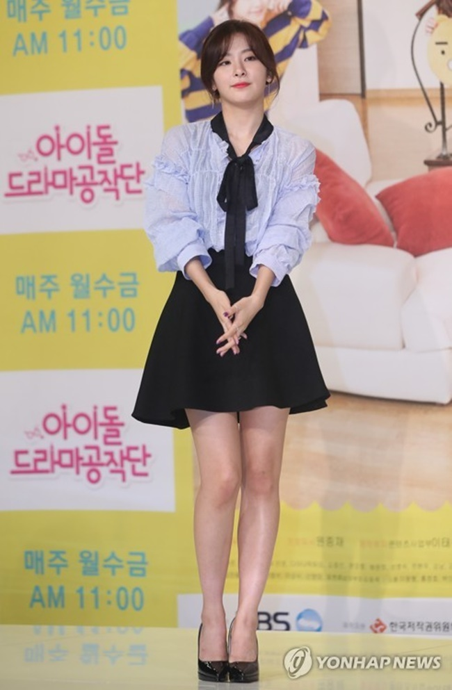 "Seulgi of girl group Red Velvet poses for the camera at a press conference for KBS TV's new web series ""Idol Drama Operation Team"" on June 1, 2017, at the Time Square mall in western Seoul. (Image: Yonhap)"