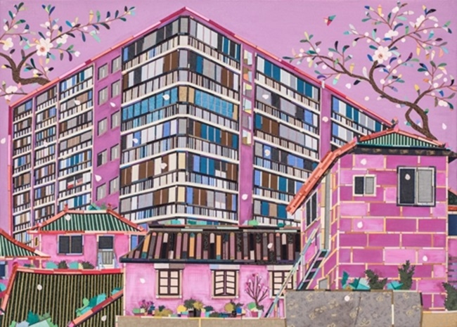 "This image provided by artist Je Mi-young shows ""Kahwa (House and Flower)"" created in 2016. (Image: Yonhap)"