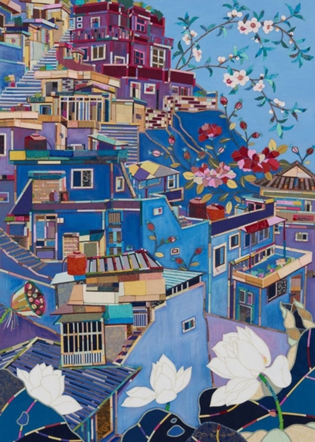 "This image provided by artist Je Mi-young shows ""Kahwa (House and Flower)"" created in 2017. (Image: Yonhap)"