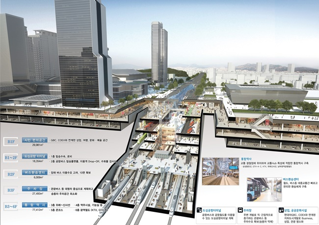 When complete, the Seoul government forecasts 630,000 transit passengers will visit the underground complex in Gangnam every day, nearly double the number at Seoul Station. (Image: Seoul Metropolitan Government)