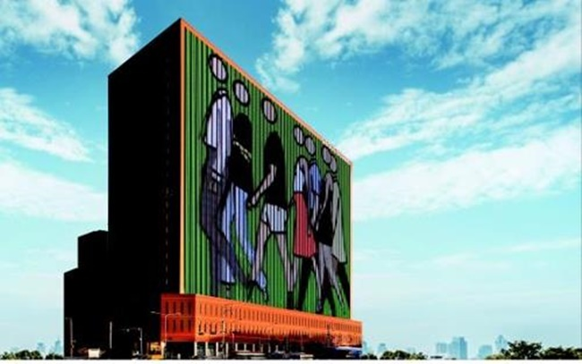 The image provided by the Ministry of Culture, Sports and Tourism shows media art on display on the wall of Seoul Square in central Seoul. (Image: Yonhap)