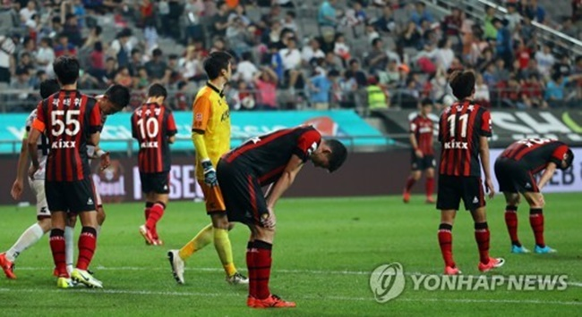 In this file photo taken on June 25, 2017, the players of FC Seoul react after losing to Sangju Sangmu 2-1 in their K League Classic match at Seoul World Cup Stadium in Seoul. (Image: Yonhap)