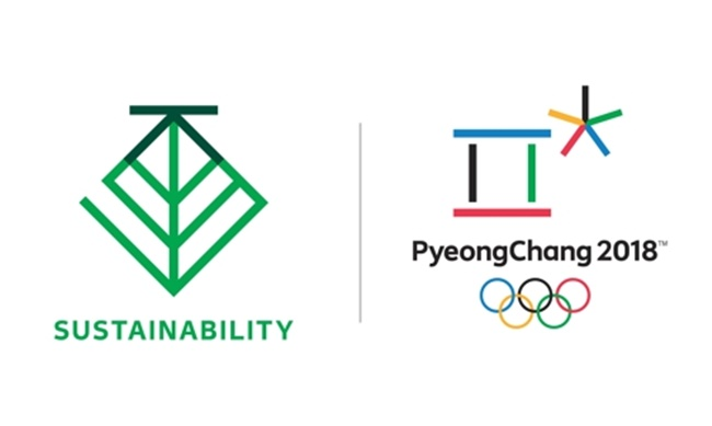 This image, provided by the organizing committee for the 2018 PyeongChang Winter Olympics on July 17, 2017, shows the PyeongChang 2018 Sustainability emblem (L) and PyeongChang 2018 Olympic emblem. (Image: Organizing Committee for the 2018 PyeongChang Winter Olympics)