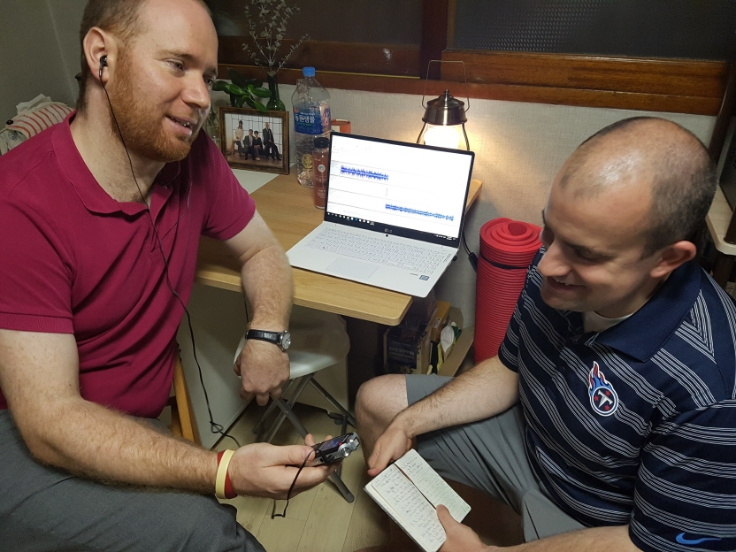 Andrew Farrell (L) and Brian Richards record an episode of their weekly podcast on the Korea Baseball Organization for their Grand Slam KBO website in Seoul. (image: Brian Richards)