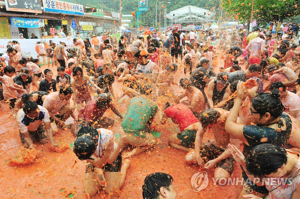 Modeled after Spain's famous tomato fight festival 'La Tomatina', Hwacheon's tomato festival has been gaining popularity every year, with this year's event scheduled to feature five different areas each operating under a different theme, ranging from the Tomato World Zone and Pia Zone to a Play Zone, Happy Zone and Market Zone. (Image: Yonhap)