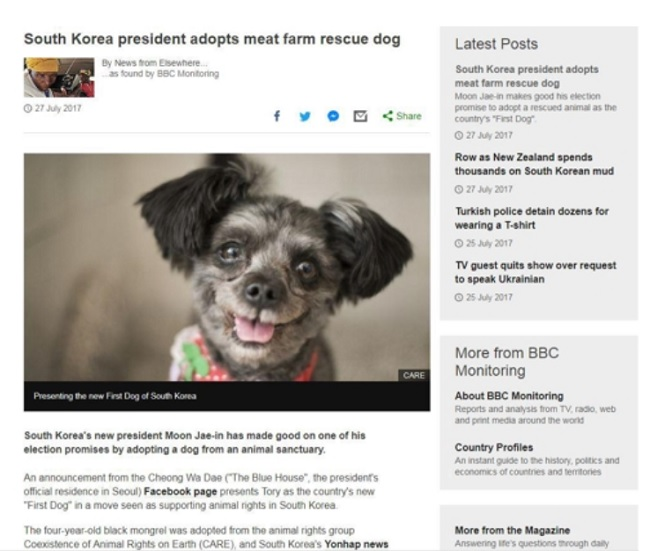 "Foreign Press Covers Blue House's Tory, South Korea's ""First Dog"""