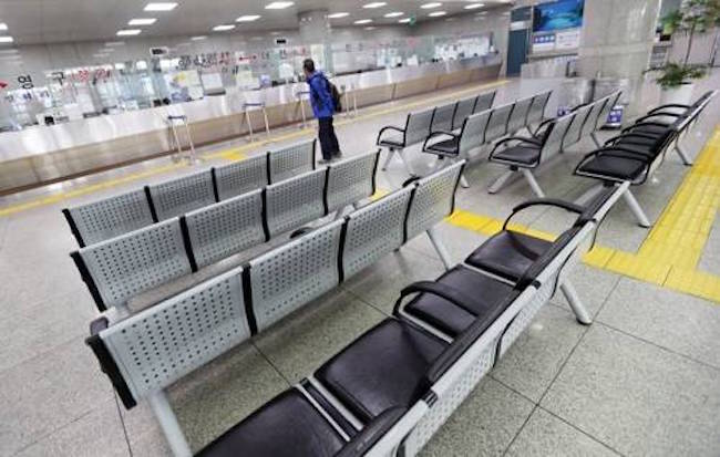 In July, the number of travelers flying to overseas destinations through Cheongju International Airport dropped by more than 80 percent, from 73,838 to 13,217 travelers, compared to the same month last year. (Image: Yonhap)