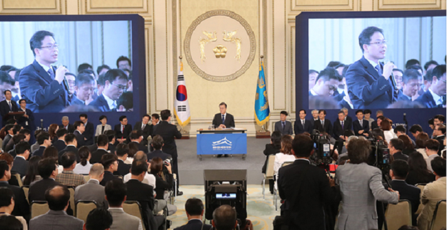 "Remarks made by President Moon that the nation will only be nuclear power free in ""at least 60 years"" at a presidential press conference yesterday has garnered comparisons between South Korea's nuclear power deactivation policy and other nations. (Image: Yonhap)"
