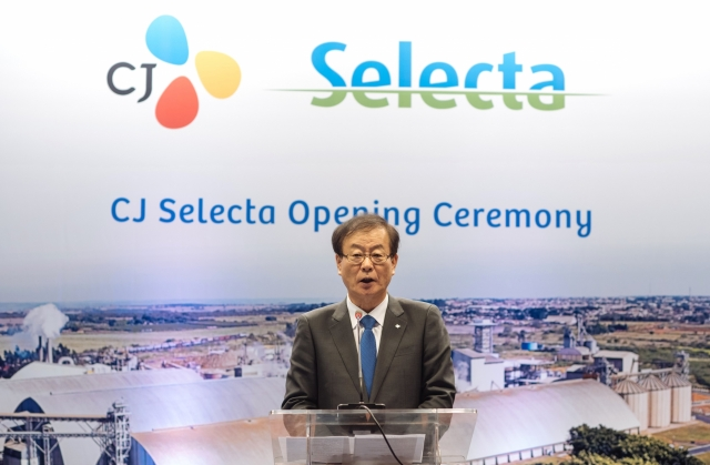 CJ Cheiljedang CEO Kim Chul-ha speaks during the opening ceremony of CJ Selecta in Goiania, Brazil, on Aug. 25, 2017. (image: CJ Cheiljedang)