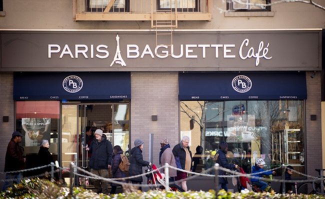 The undated file photo provided by SPC Group on April 1, 2015, shows the facade of the fifth bakery outlet of Paris Baguette in Manhattan in New York. SPC Group is the parent group of Paris Baguette. (Image: SPC Group)