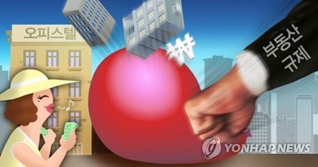 In this graphic image, a hand symbolizing the government's regulatory measures hits a red balloon signifying the country's overheated real estate market. (Image: Yonhap)
