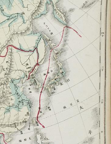 The Asian map from the Japanese textbook written by Matsutaro Okamura in 1886 marks the two islands -- Ulleungdo and Dokdo in the East Sea -- outside the Japanese border. (image provided by Prof. Han Cheol-Ho)