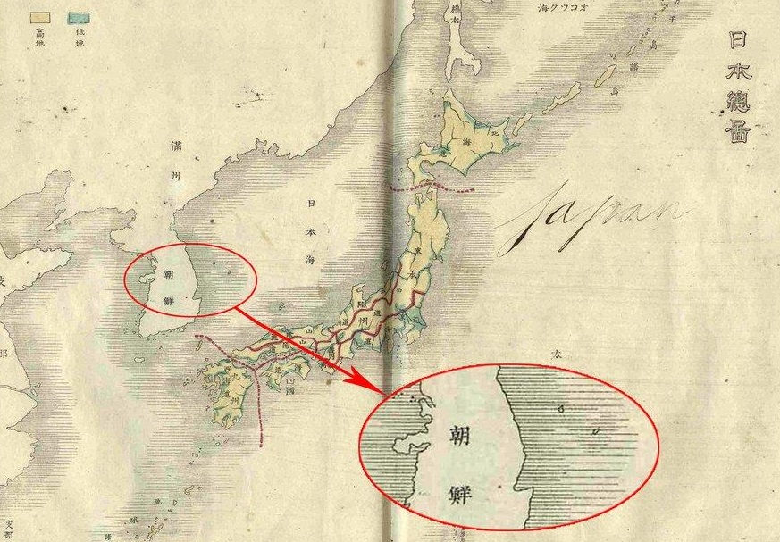 The map on Korea and Japan from the Japanese textbook written by Matsutaro Okamura in 1886 marks the two islands -- Ulleungdo and Dokdo in the East Sea -- belonging to Korea. (image: Yonhap)