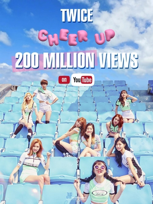 "The video for TWICE's 2016 single ""Cheer Up"" surpassed 200 million views on YouTube on Wednesday, making it the first K-pop girl group with two music videos that attracted over 200 million views. (Image: Yonhap)"