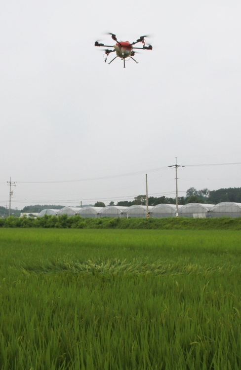 The center had previously provided financial support to five farms to purchase agricultural drones, and Hwang Jin-sang, one of the beneficiaries, controlled the UAV during the event after completing a training course. (Image: Yonhap)
