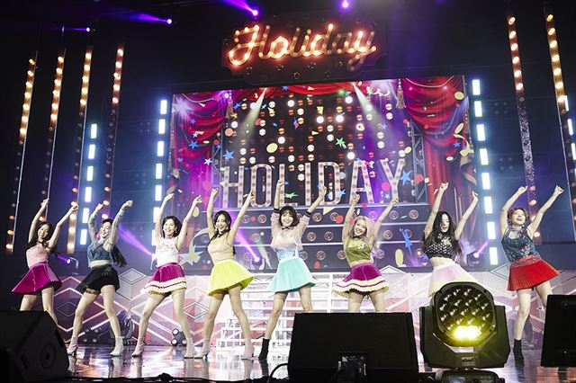 Girls' Generation performs on stage during a 10th anniversary fan meet-and-greet held on Aug. 5, 2017, at Seoul's Olympic Park. (image: S.M. Entertainment)