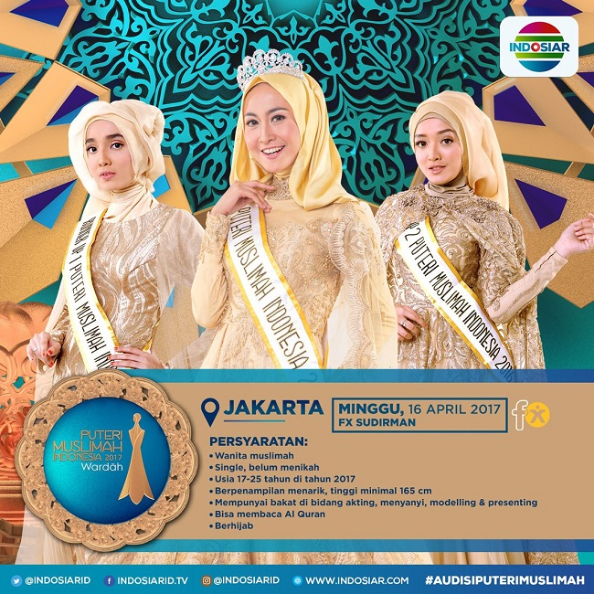 The Korea Tourism Organization has extended an official invitation to the top three contestants in the 2017 Miss Muslim Indonesia. (Image: Indosiar)