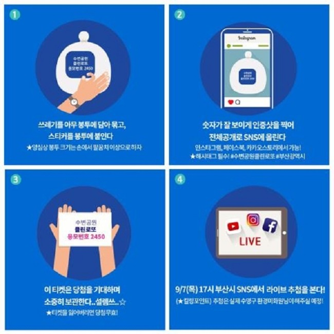 To place one's name into the pot, participants will need to place their garbage into a plastic bag, tie it, paste an event sticker onto the bag, take a photo and then upload it onto Facebook, Instagram and/or Kakao Story.(Image: Yonhap)