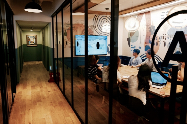 The first Korean office of WeWork, a global coworking space provider, in southern Seoul. (image: WeWork)