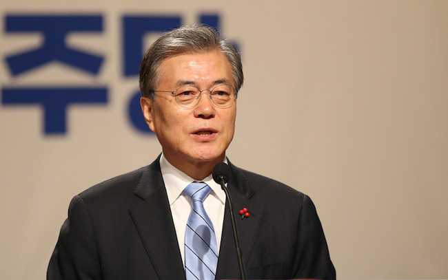 Moon said South Korea needs to develop military capabilities in the face of the North's growing nuclear threat, while expressing objection to some conservatives' call for Seoul's own nuclear armament. (Image: Yonhap)