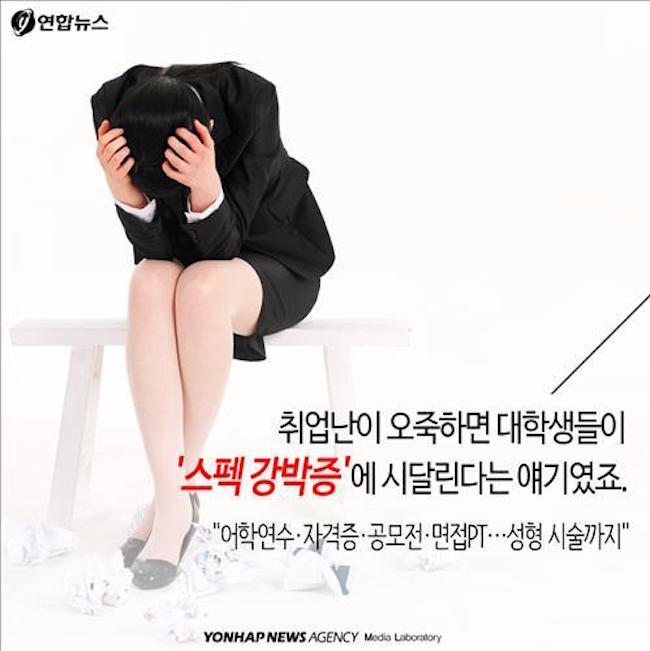 Stress from prolonged study and the arduous ordeal of the modern-day job search, coupled with irregular meal times, a lack of exercise and a large helping of anxiety and insecurity over the future are all likely culprits causing damage to young men and women's minds and bodies, according to Yoon. (Image: Yonhap)