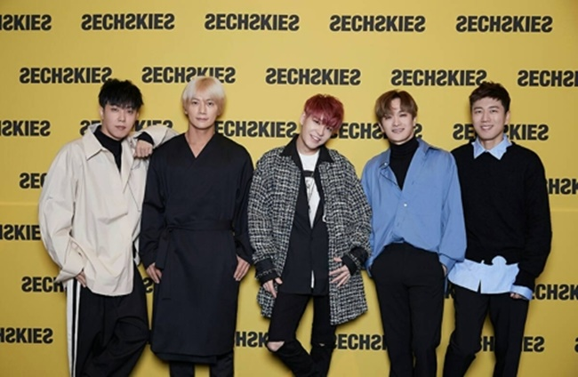 Sechskies poses for the camera during a press conference at CGV Cheongdam Cine City in southern Seoul on Sept. 21, 2017. (Image: Yonhap)