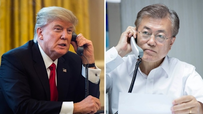 South Korean President Moon Jae-in and U.S. President Donald Trump will meet here this week, Seoul's presidential office Cheong Wa Dae said Wednesday, for bilateral talks expected to focus on ways to deal with provocative North Korea. (Image: Yonhap)