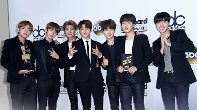 BTS became the first Korean musician to break into the top 50 artists played on global music streaming service Spotify, according to its agency Wednesday. (Image: Yonhap)