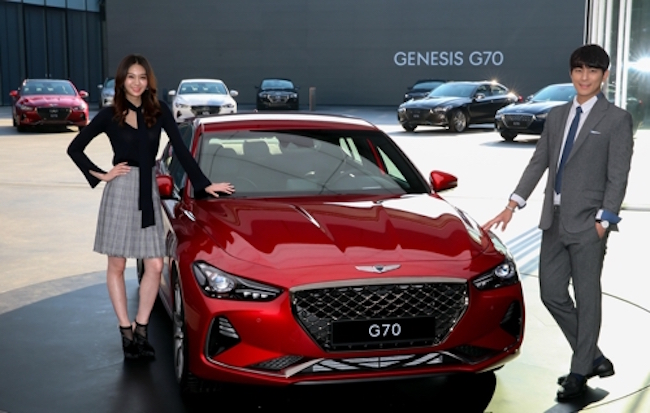 In the two-hour-long test-drive event, the 3.3-liter V6 gasoline twin-turbo in the G70 Sport showed what it was made of on a 130 kilometer course from eastern Seoul to Pocheon, just north of the capital city. (Image: Hyundai)