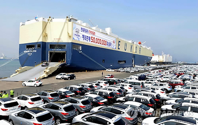 South Korea's exports of automobiles jumped nearly 60 percent last month from a year earlier on recovering demand from Europe and North America, government data showed Wednesday. (Image: Yonhap)