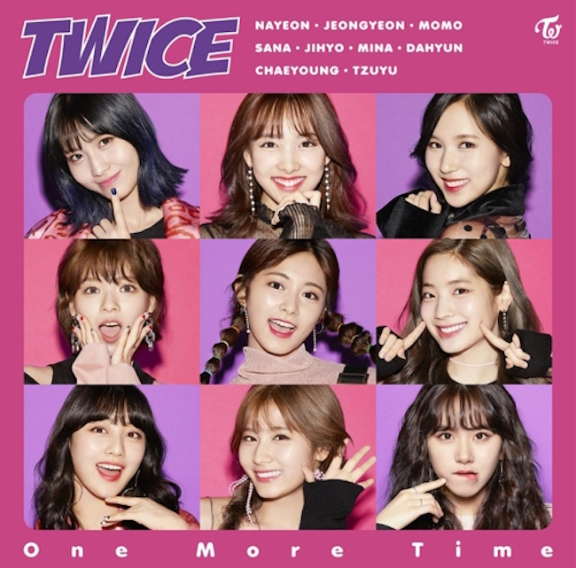 Girl group TWICE's Japanese single 'One More Time', released October 18, has taken the number one spot on Japan's Oricon Singles Chart with sales of 94,957, over 40,000 more than the runner-up, J-pop boy band Magi!c Prince. (Image: JYP Entertainment)