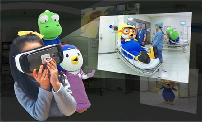 Professors Han Seong-hee and Yu Jung-hee at the department of anesthesiology and pain medicine at Seoul National University Bundang Hospital teamed up with visual content maker The VR and Iconix Entertainment to create a VR video introducing the operating room to children. (Image: Seoul National University Bundang Hospital)