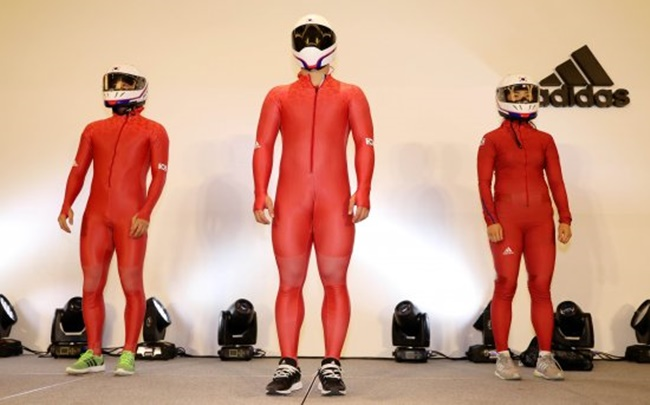 The new uniforms were revealed during a press conference held on Wednesday, with members of the national team including Lee Han-shin, Yun Sung-bin and Shin Mi-ran sporting the new apparel, which has the South Korean flag printed on both arms. (Image: Yonhap)