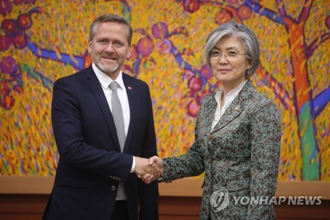 Foreign Minister Kang Kyung-wha and her Danish counterpart Anders Samuelsen emphasized those points in a joint press statement issued after having bilateral talks. (Image: Yonhap)