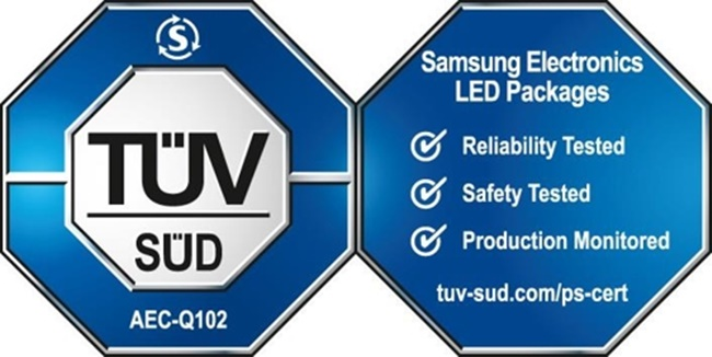 A certification mark for a product that has passed joint testing by Samsung Electronics Co. and Germany-based TUV SUD is shown in this image provided by the South Korean company on Oct. 24, 2017. (Image: Yonhap)