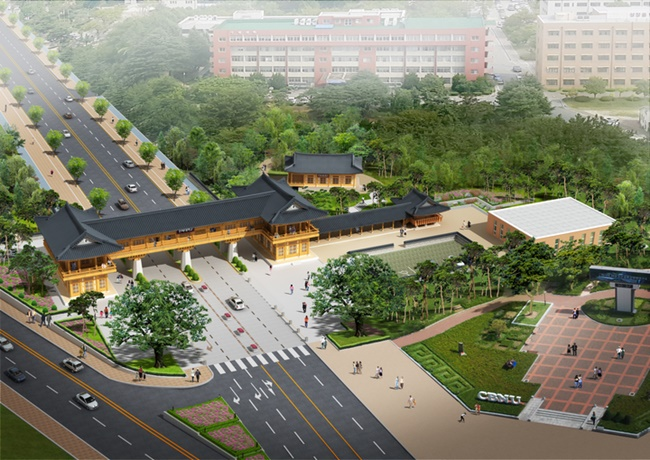 Chonbuk National University announced on Wednesday it is building a new traditional Korean building, which will accommodate a training center as well as serve as an entrance to the university campus. (Image: (Image: Chonbuk National University)